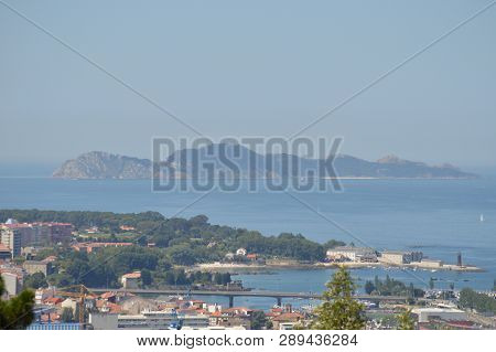 View Of The Cies Islands From The Mountain Of Castro In Vigo. Nature, Architecture, History, Travel.
