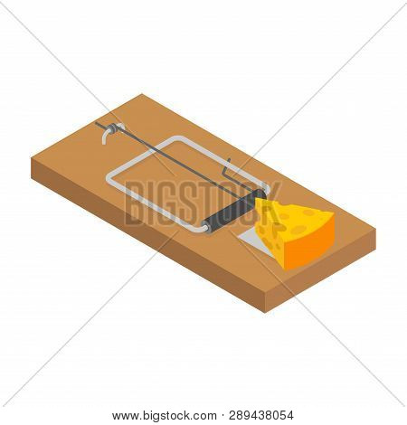Mousetrap And Cheese Isolated. Mouse Trap. Rodent Snare. Vector Illustration