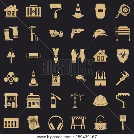 Construction Site Icons Set. Simple Style Of 36 Construction Site Vector Icons For Web For Any Desig