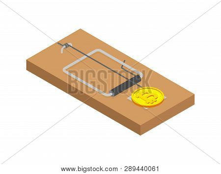 Mousetrap Bitcoin. Mouse Trap And Cryptocurrency. Concept Business Deception