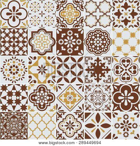 Lisbon Azulejos Tile Vector Pattern, Portuguese Or Spanish Retro Old Tiles Mosaic, Mediterranean Sea