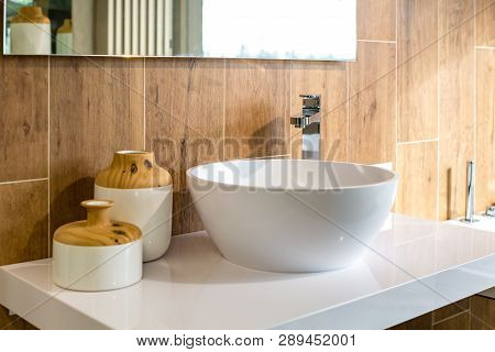 Water Tap Sink With Faucet In Expensive Loft Bathroom