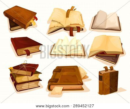 Set Of Isolated Old Pile, Stack Of Books With Damaged Cover. Open Law Literature Or Aged Bible With