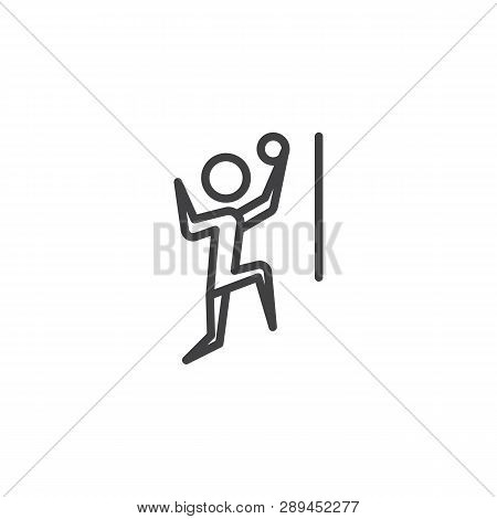 Man Playing Volleyball Line Icon. Linear Style Sign For Mobile Concept And Web Design. Volleyball Pl