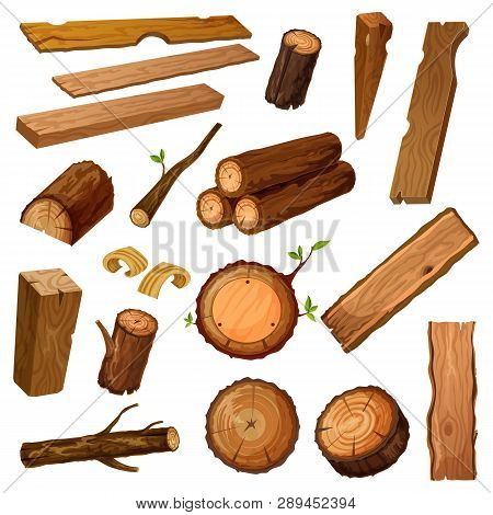 Set Of Isolated Wood Bark And Tree Log, Brown Timber Trunk With Wooden Chips Or Flinders, Stump Or S