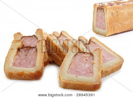 appetizer, meat pie on white background