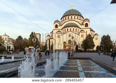 Belgrade, Serbia - November 10, 2018: Cathedral Church Of Saint Sava In The Center Of City Of Belgra