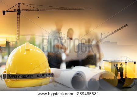 Civil Engineer Jobs, Double Exposure Of Project Management Team And Construction Site With Tower Cra