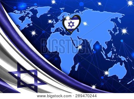 Eurovision Song Contest 2019 With The Flag Of Israel. Tel Alive Music Contest. Heart Logo Concept Wi