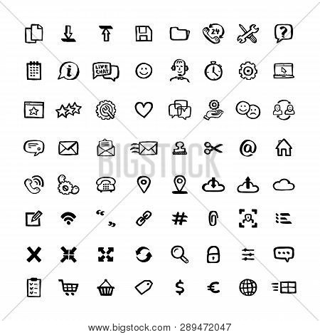 Naive Style Icon Set. Doodle Ink Set Of Icons With Elements For Mobile Concepts And Web Apps. Vector