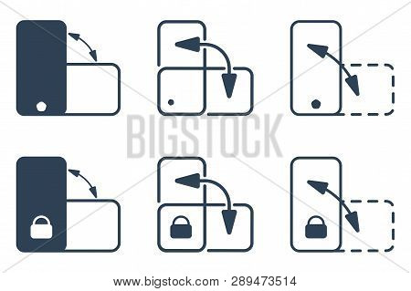 Smartphone Orientation Change And Lock Outline Vector Icon Set. Flat Ui Design Collection