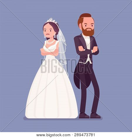 Angry Offended Bride And Groom On Wedding Ceremony. Unhappy Tuxedo Man And Woman In Beautiful Dress