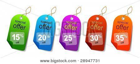 Multicolored sale labels