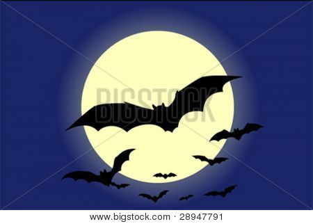 Flying bats with the moon in background. Full editable vector graphic.