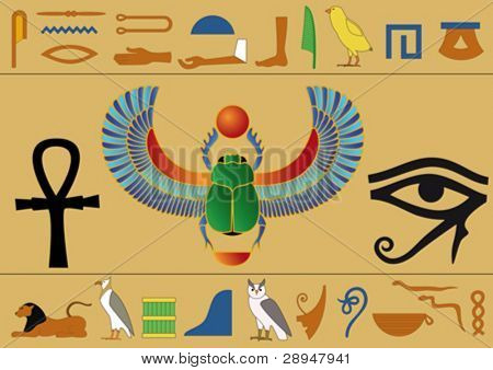 Set of egyptian icons and hieroglyphics