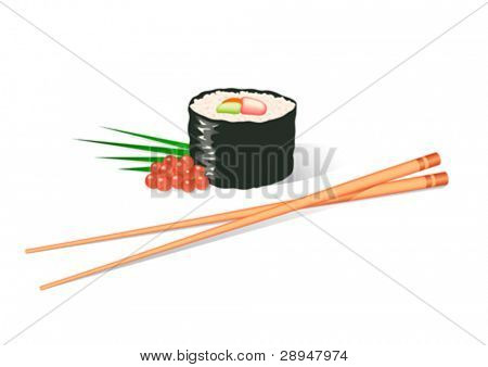 Illustration of a sushi roll and chopsticks