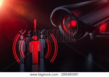 Society Under Control Of Artificial Intelligence. Obey Or Face Consequences. 3d Rendering