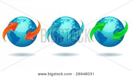 Blue earth globe with colored 3d arrows.