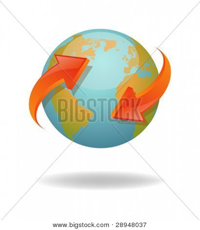 Vector illustration of a globe with red arrows