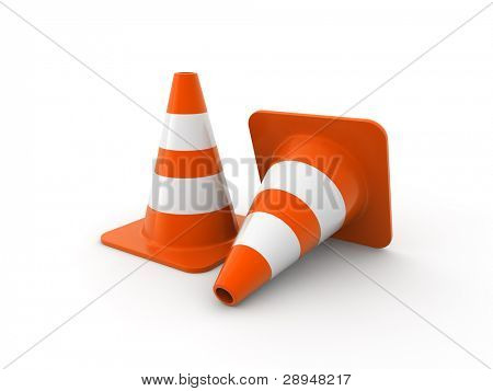 Traffic cones on white Background. Computer generated image.