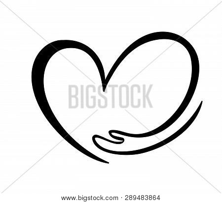 Icon Of Kindness And Charity, Hand And Heart. Hand Hug Heart Symbol Valentines Day Or Love. Hand Dra