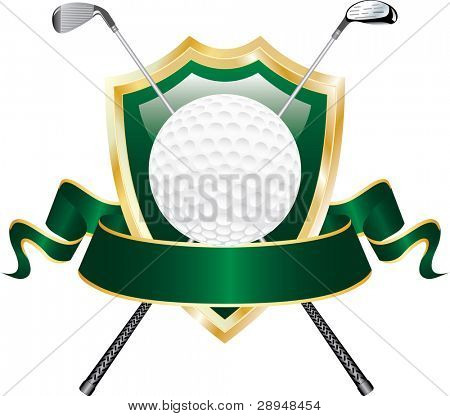vector design for golf award with shield and blank banner
