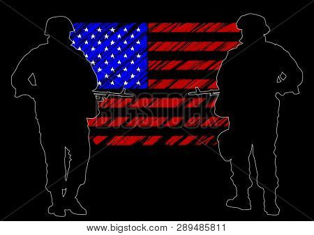Soldier in uniform with weapon on flag background