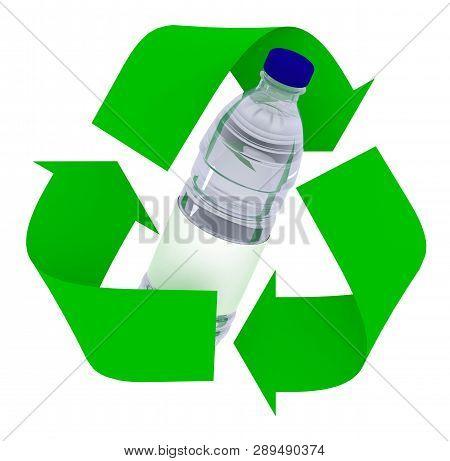 Plastic Bottle Inside Symbol Recycle Isolated On White Background, 3d Illustration