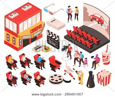 Isometric Movie Cinema Set Of Isolated Elements Theater Building Audience Seats And Accessories Of M