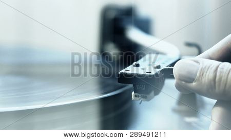 Cinemagraph Loop Vintage Vinyl Turntable Record Player Needle Close Up
