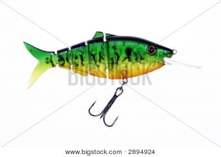 Green Fishing Lure Isolated On A White Background