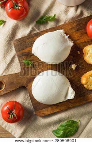 Homemade White Italian Burrata Cheese