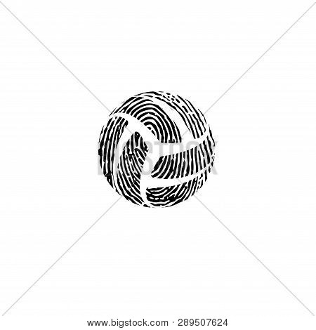 Black And White Fingerprint Volleyball Symbol Isolated On Whitebackground