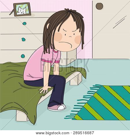 Annoyed And Unhappy Teenage Girl Sitting On The Bed In Her Children's Room, Thinking About The Injus