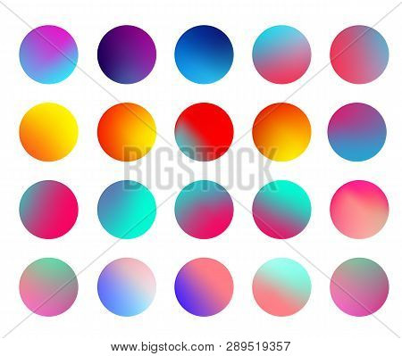 Rounded Holographic Gradient Sphere Set. Gradient Colorful Sphere In Trendy Style. Multicolor Round