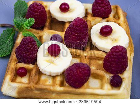 Waffle With Syrup Waffle With Ice-cream Waffle With Strawberry Waffle With Whip Cream Waffle On Wood