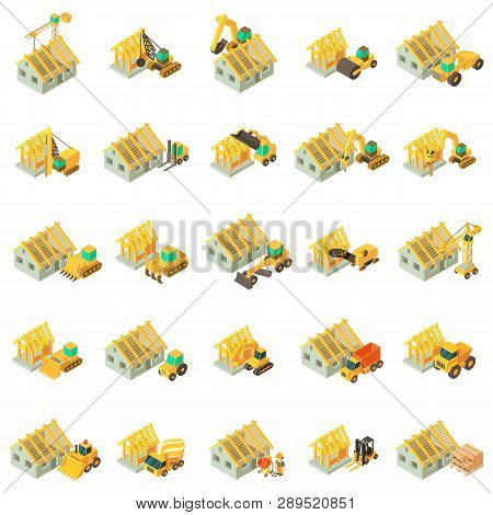 Building House Icons Set. Isometric Set Of 25 Building House Vector Icons For Web Isolated On White