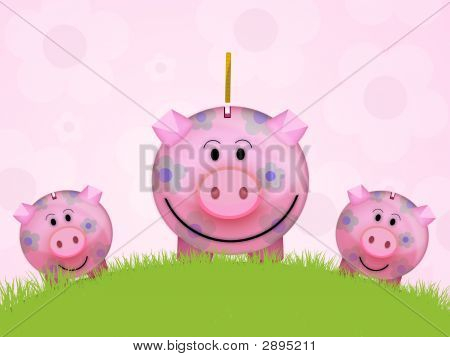 Illustration of a pink pig moneybox for save money poster