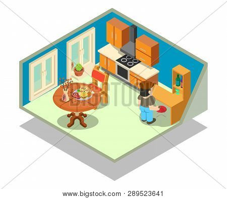 Livingroom Concept Banner. Isometric Banner Of Livingroom Vector Concept For Web, Giftcard And Postc