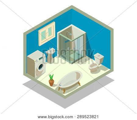 Lavatory Concept Banner. Isometric Banner Of Lavatory Vector Concept For Web, Giftcard And Postcard