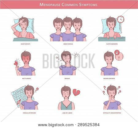 Colorful Vector Illustrations With Woman Experienced Menopause Common Symptoms. Can Be Used For Your