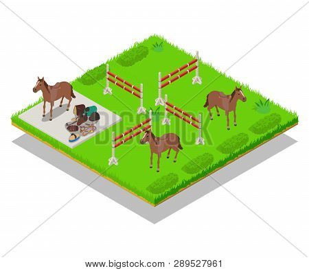 Gallop Concept Banner. Isometric Banner Of Gallop Vector Concept For Web, Giftcard And Postcard
