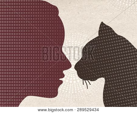 Profile drawn silhouettes - Woman with Cat