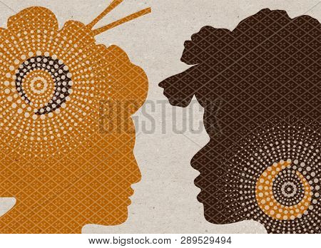 Profile drawn silhouettes - Asian and African women