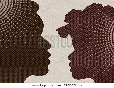 Profile drawn silhouettes - African man and Woman
