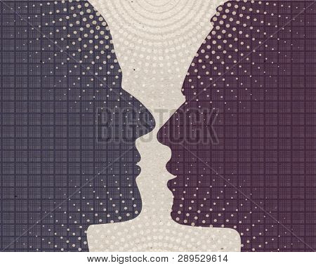 Profile drawn silhouettes - Loving Men couple