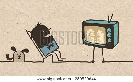 Black cartoon Man watching TV