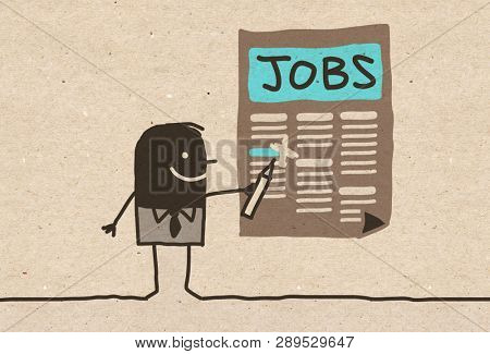 Black cartoon Man looking for a Job