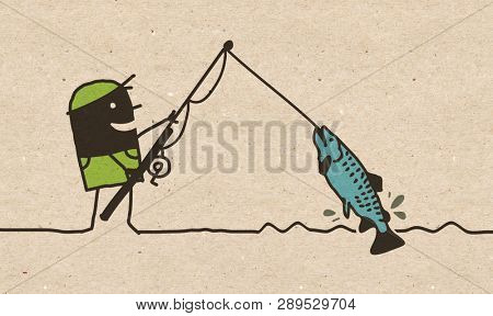 Black Cartoon Fishing Man
