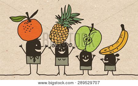 Black Cartoon Family - Eating Fruits